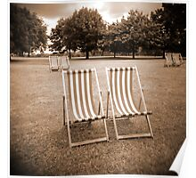Lonely Deck Chairs Poster