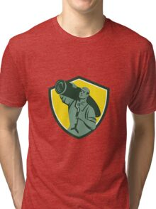 Carpet Layer Knee Kicker Crest Retro Tri-blend T-Shirt