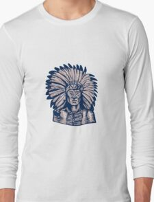Native American Indian Chief Warrior Etching Long Sleeve T-Shirt