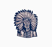 Native American Indian Chief Warrior Etching Unisex T-Shirt