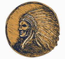 Native American Indian Chief Headdress Drawing by patrimonio