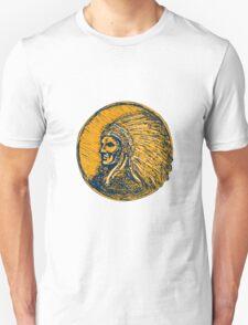 Native American Indian Chief Headdress Drawing T-Shirt