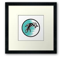 Sea Serpent Circle Woodcut Framed Print