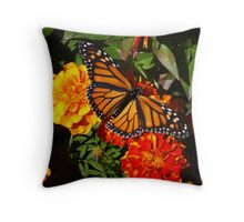 Monarch on Marigolds Throw Pillow