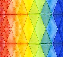 Watercolor Geometric Shapes Rainbow Pattern Triangles by OlechkaDesign