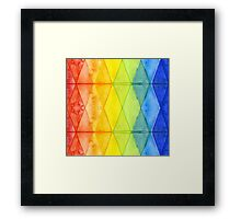 Watercolor Geometric Shapes Rainbow Pattern Triangles Framed Print