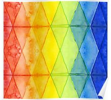 Watercolor Geometric Shapes Rainbow Pattern Triangles Poster