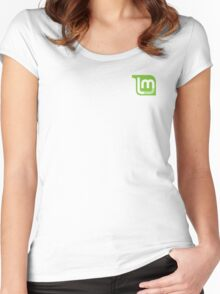 Linux Mint Flat Women's Fitted Scoop T-Shirt