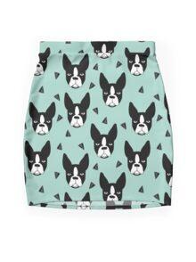 Boston Terrier - Mint Mini Skirt