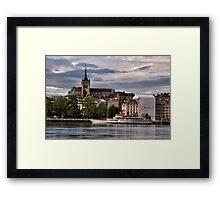 Geneva Cathederal and lake boat Framed Print
