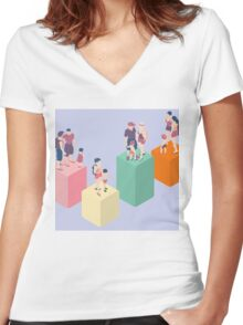 Isometric Infographic Family Types - LGBT included Women's Fitted V-Neck T-Shirt