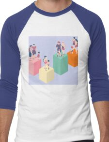 Isometric Infographic Family Types - LGBT included Men's Baseball ¾ T-Shirt
