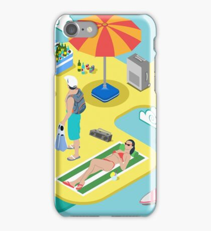 Isometric Beach Life - Summer Holidays Concept  iPhone Case/Skin