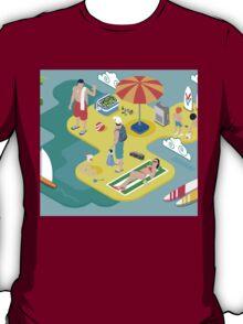 Isometric Beach Life - Summer Holidays Concept  T-Shirt