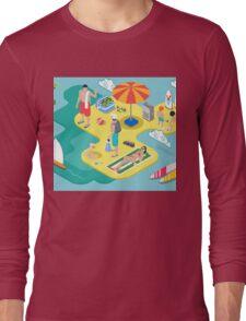 Isometric Beach Life - Summer Holidays Concept  Long Sleeve T-Shirt