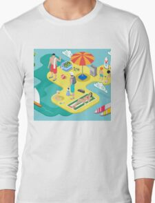 Isometric Beach Life - Summer Holidays Concept  Long Sleeve T-Shirt