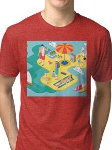 Isometric Beach Life - Summer Holidays Concept  Tri-blend T-Shirt