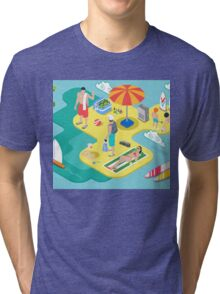 Isometric Beach Life - Summer Holidays Concept  Tri-blend T-Shirt
