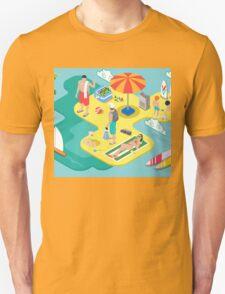Isometric Beach Life - Summer Holidays Concept  Unisex T-Shirt