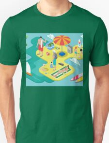Isometric Beach Life - Summer Holidays Concept  T-Shirt