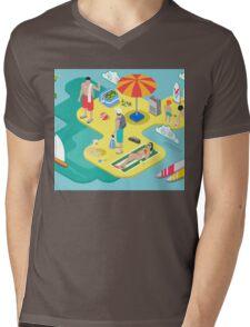 Isometric Beach Life - Summer Holidays Concept  Mens V-Neck T-Shirt