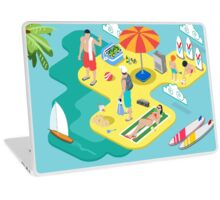Isometric Beach Life - Summer Holidays Concept  Laptop Skin