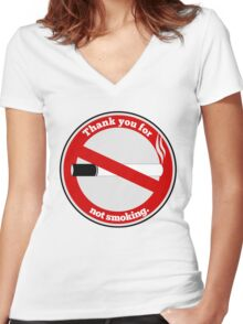 Thank you for not smoking Women's Fitted V-Neck T-Shirt