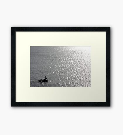Little Us In Our Little Boat On A Big Sea Framed Print