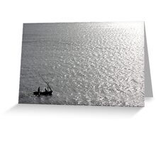 Little Us In Our Little Boat On A Big Sea Greeting Card