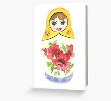 Russian Doll With Red Flowers Greeting Card