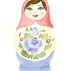 Russian Doll With Blue Flower by Courtney Carlson