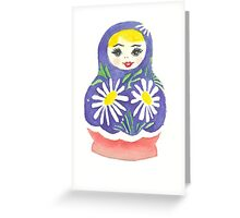 Russian Doll with Daisies Greeting Card
