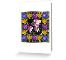 Crocus Collage in Mirrored Frame Greeting Card