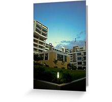 Apartment Building  at Night Greeting Card