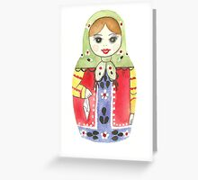 Russian Doll With Green Top Greeting Card