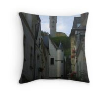 Medieval Clock Tower Chinon Throw Pillow