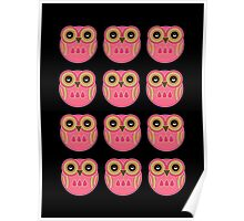 Pink Owls Poster