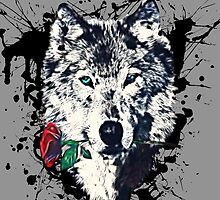 Wolf with Rose, Love Symbol, Wolves, Nature, Native, Splash,  by boom-art