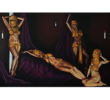 Golden Girls and purple drapes Photographic Print