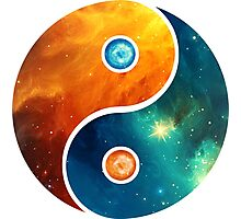 Yin Yang, Space, Cosmos, Galaxy, Universe, Outerspace Photographic Print
