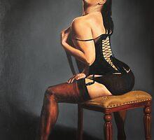 Vixen in black lace by rogerpaints