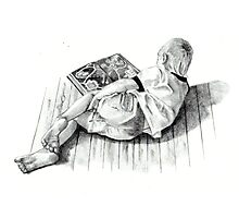 Young Book Lover Photographic Print