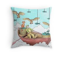 Fish Farmer with owls and a pussycat Throw Pillow