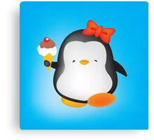 Ice cream penguin Canvas Print