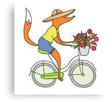 fox on a bike Canvas Print