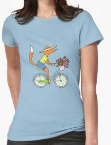 fox on a bike Womens Fitted T-Shirt