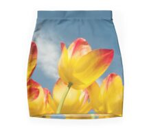 Yellow and Pink Tulips Mini Skirt