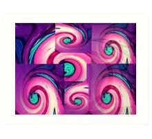 Swirls layered - cerise Art Print