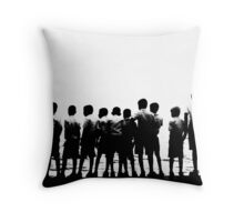 Colombo Sri Lanka Schoolboys looking at the Indian Ocean on Galle Face Green digital illustration. Throw Pillow