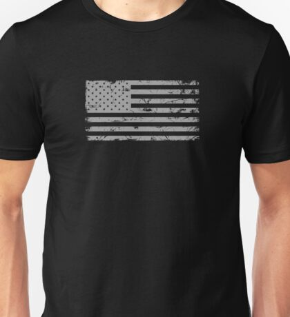 American Flag - Distressed (Gray) Unisex T-Shirt